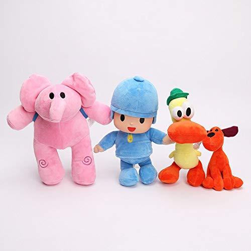Peluches 4 Piezas Pocoyo Elly & Pato & Pocoyo & Loula Juguete De Peluche Suave Animales De Peluche Juguetes Muñeca para Niños