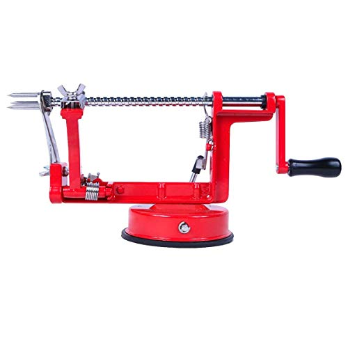 ARSUK Apple Peeler, Vegetable, Fruit Peeler, Pear Potato Slicer Corer, Peeling Machine (Red Peeler)