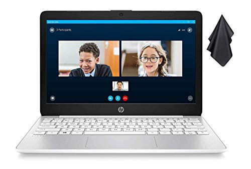 2021 Newest HP Stream 11-inch HD Laptop, Intel 2-Core N4000 up to 2.6 GHz, 4 GB RAM, 32 GB eMMC, Webcam, HDMI, Windows 10 S with Office 365 Personal for 1 Year, White + Oydisen Cloth