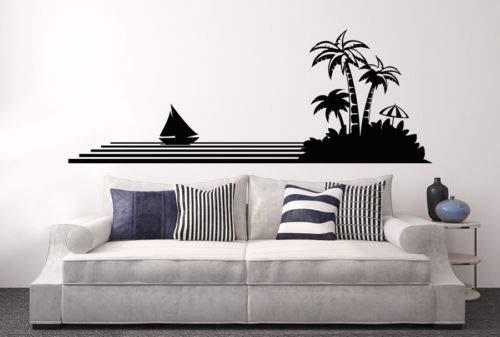 zqyjhkou Wohnzimmer Kunst Wandtattoos Äste Selbstklebende Vinyl Aufkleber Wandbild Palme Sommer Meer Ozean Yacht Aufkleber Zitate L35x95cm