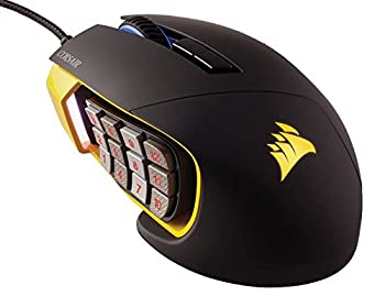Corsair Gaming SCIMITAR RGB MOBA/MMO Gaming Mouse Key Slider Mechanical Buttons 12000 DPI Yellow