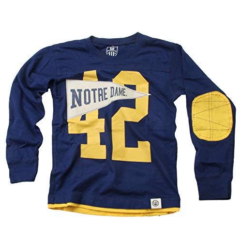 Wes and Willy Boys Long Sleeve Pennant Jersey, Notre Dame Fighting Irish, XL, Navy