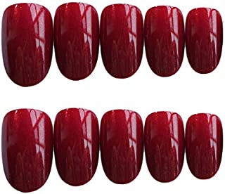 JINDIN 24 Sheet Wine Red Oval Fake Nails with Nail Glue Press On Nails French False Nails Full Cover Acrylic Nail Tips for Women Girls