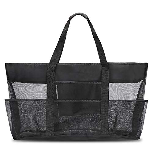 Manfore Extra Strand Handtaschen Große Reisetasche Strand Spielzeug Aufbewahrungstasche Faltbare Netztasche Picknick Handtaschen für Sommer Strand 70x45x18cm