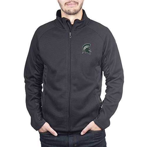 Spyder Michigan State Spartans Men's Constant Full Zip Sweater Black Gameday Jacket, X-Large