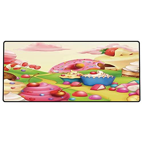 Alfombrilla de ratón para Juegos 600 x 300x3 mm,Moderno, Delicioso Donuts Sweet Land Cupcakes Helado Algodón de azúcar Nubes Kids Nursery Design, Base de Goma Antideslizante, Adecuada para Jugadores