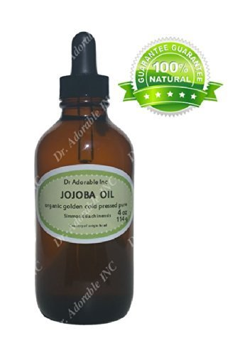 Jojoba Oil Great for Skin Hair Face & Nails Lips Cuticles Stretch Marks Beard 4 Oz Glass Amber Bottle with Glass Dropper