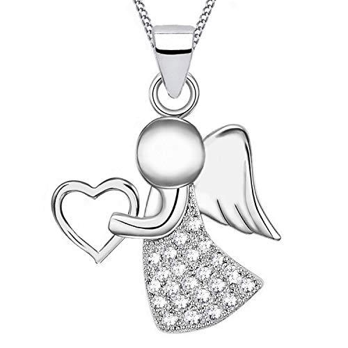 Herz-Engel Zirkonia Kette 925 Echt Silber rhodiniert Kinder Damen Mädchen Halskette Flügel (Z1-Silber/Klar)