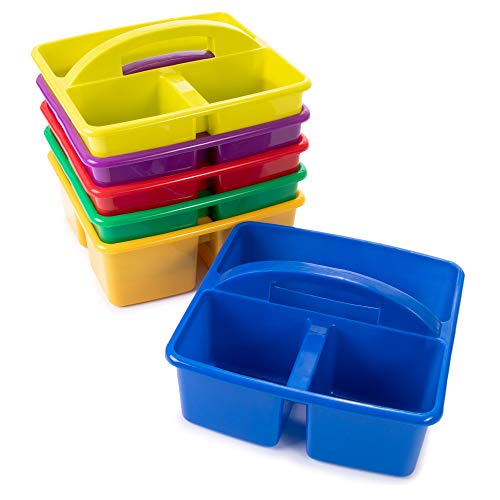 6 Multicolored Storage Caddies - Bulk Stackable Plastic Bins with 3 Compartments & Carrying Handle for Kids - Office Desk Organization for Preschool, Kindergarten, Cleaning Supplies, Arts & Crafts (Multicolored,Colorful)