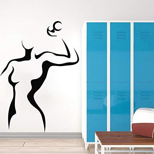 Etiqueta engomada del club de fitness gimnasio vinilo pared calcomanía niñas habitación decoración mancuerna hermosa mujer hogar mural O139_ como se muestra