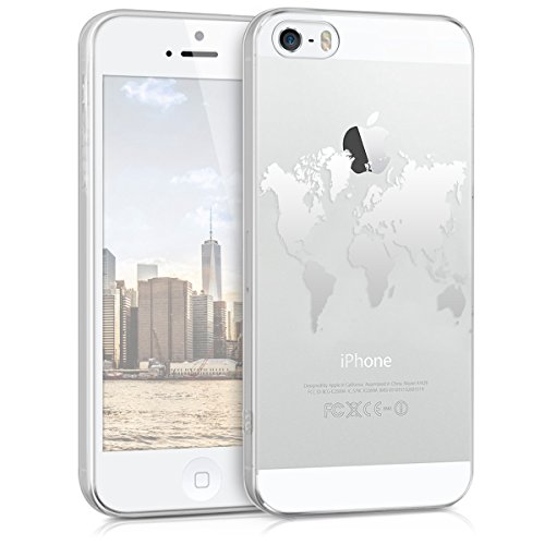 kwmobile Hülle kompatibel mit Apple iPhone SE (1.Gen 2016) / 5 / 5S - Handyhülle - Handy Case Travel Umriss Silber Transparent