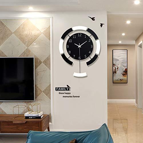 YesVCTR Reloj de pared nórdico para el hogar con diseño de personalidad creativa y digital de cuarzo para la sala de estar, reloj minimalista moderno