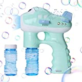 Bubble Gun, KIMILAR Bubble Shooter Gun Light Up Bubbles Blowers with LED Flashing Lights and Sounds Bubble Blowing Toys for Kids, Boys and Girls - 2 Bubble Solution and 3 AA Batteries Included (Green)