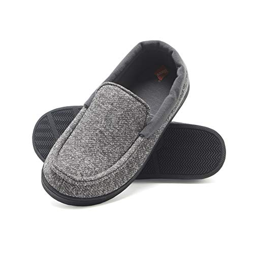 Hanes boys Moccasin House Shoe With Indoor Outdoor Memory Foam Sole Fresh Iq Odor Protection Slipper, Grey Knit, Large Little Kid US