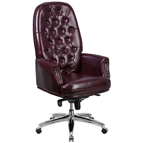 Flash Furniture High Back Traditional Tufted Burgundy LeatherSoft Multifunction Executive Swivel Ergonomic Office Chair with Arms