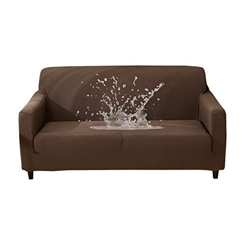 HOTNIU Wasserdichtes Stretch Sofa Schonbezug - 1-Piece Dehnbarer Stoff Couch Cover - Beflockt Muster Ausgestattet Couch Schonbezug (3-Sitzer, Coffee)