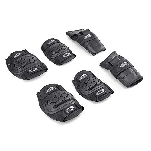 Osprey Kids' Skate Bmx Pads - Knee, Elbow and Wrist Protective Set - 6 Piece Scooter Streetsport Pad Set - Black - Large