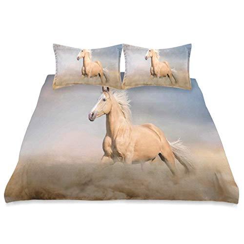 Funda nórdica, Palomino Horse Sand Desert con Pelo Largo y Rubio Masculino Power Animal Salvaje, 3 Piezas Juego de Cama de Microfibra Ultra Softness Comfortable Modern Design