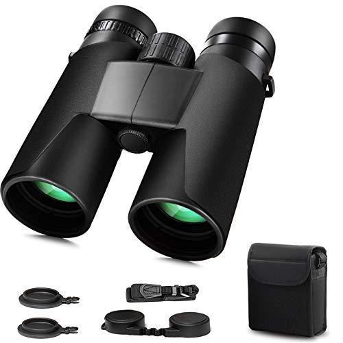 Prismáticos compactos de 10 x 42 para adultos con visión HD y visión clara de baja visión. Prismáticos de alta potencia y portátiles para observación de aves, caza, escenarios, conciertos, deportes