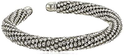 GUESS Women's Rhinestones Bangle with Stones, Silver, One Size