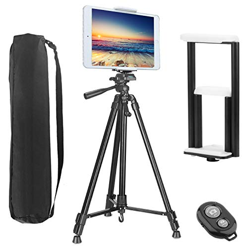 PEYOU Compatible for iPad iPhone Tripod, 62 inch Lightweight Aluminum Phone Camera Tablet Video Tripod + Wireless Remote + 2 in 1 Mount Holder for Smartphone (Width 2-3.3'),Tablet (Width 4.3-7.2')