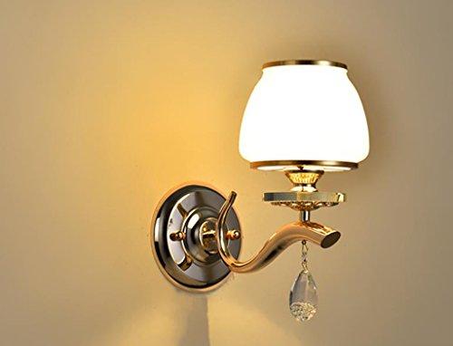 Applique Murale Lampe de Mur-Jane European Hotel Lampe de Chevet Couloir d'allée (Simple/Double tête) LED Lampe d'intérieur en Verre (Couleur : Single Head)