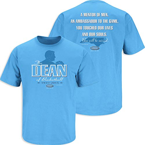 North Carolina Basketball Fans. The Dean of Basketball. Dean Smith Tribute Blue T-Shirt (Sm-5X) (Short Sleeve, Large)