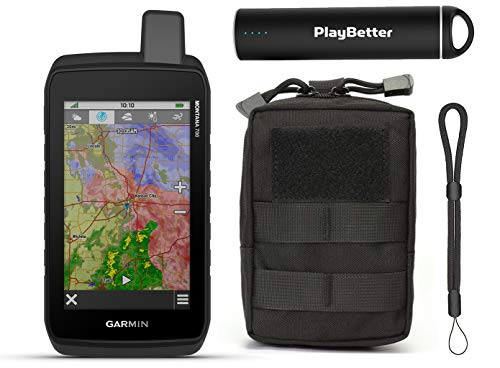 Garmin Montana 700 Hiking Handheld GPS Bundle | with PlayBetter Tactical Pouch, Portable Charger, GPS Tether Lanyard | GPS/GLONASS, ABC Sensors & TOPO MAPS | Rugged GPS Touchscreen Navigator
