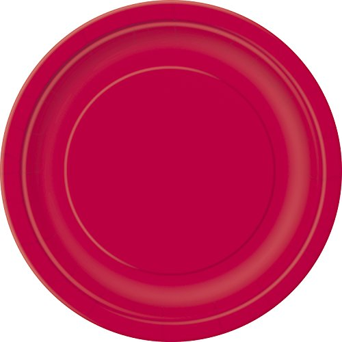 Unique Party - Platos de Papel - 17.1 cm - Rojo - Paquete de 20 (31454)