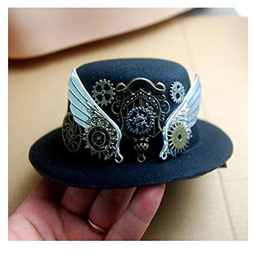RedAlphabet Steampunk Chapeau Haut de Forme avec Chapeau de Laine rétro Gear Femmes Bleu foncé Mini rôle Jouant Chapeau Chapeau d'anniversaire (Color : Dark Blue, Size : 13cm)