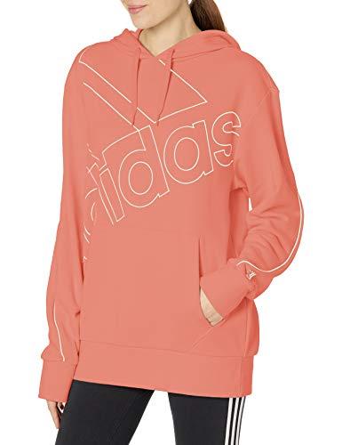 adidas,Womens,Essentials Brand Love Hoodie,Hazy Rose/White,Large
