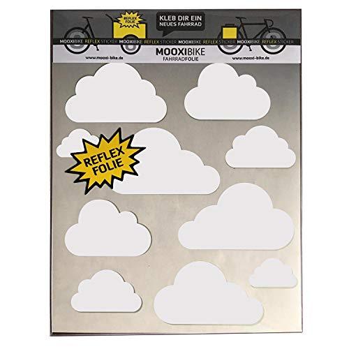 MOOXIBIKE Sticker Set Cloud weiß reflektierend, für Cargobike, Lastenrad, Scooter, Roller & Helm, auch für Rennrad, Trekkingrad, Fixie, Mountainbike, Hollandrad, Citybike, Scooter, Rollator & E-Bike