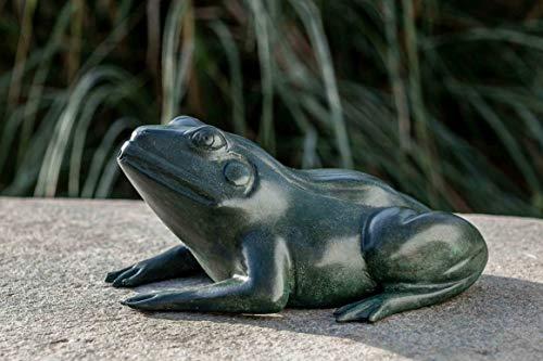IDYL Escultura de bronce de rana verde   9 x 17 x 20 cm   Figura de animal de bronce hecha a mano   Escultura de jardín o estanque   Artesanía de alta calidad   Resistente a la intemperie