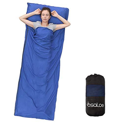 Osaloe Hüttenschlafsack, Ultraleicht Reiseschlafsack aus Mikrofaser 380g, Schlafsack Inlett, Sommerschlafsack mit Kissenbezug, Ideal für Hotels, Rucksacktouren, Camping