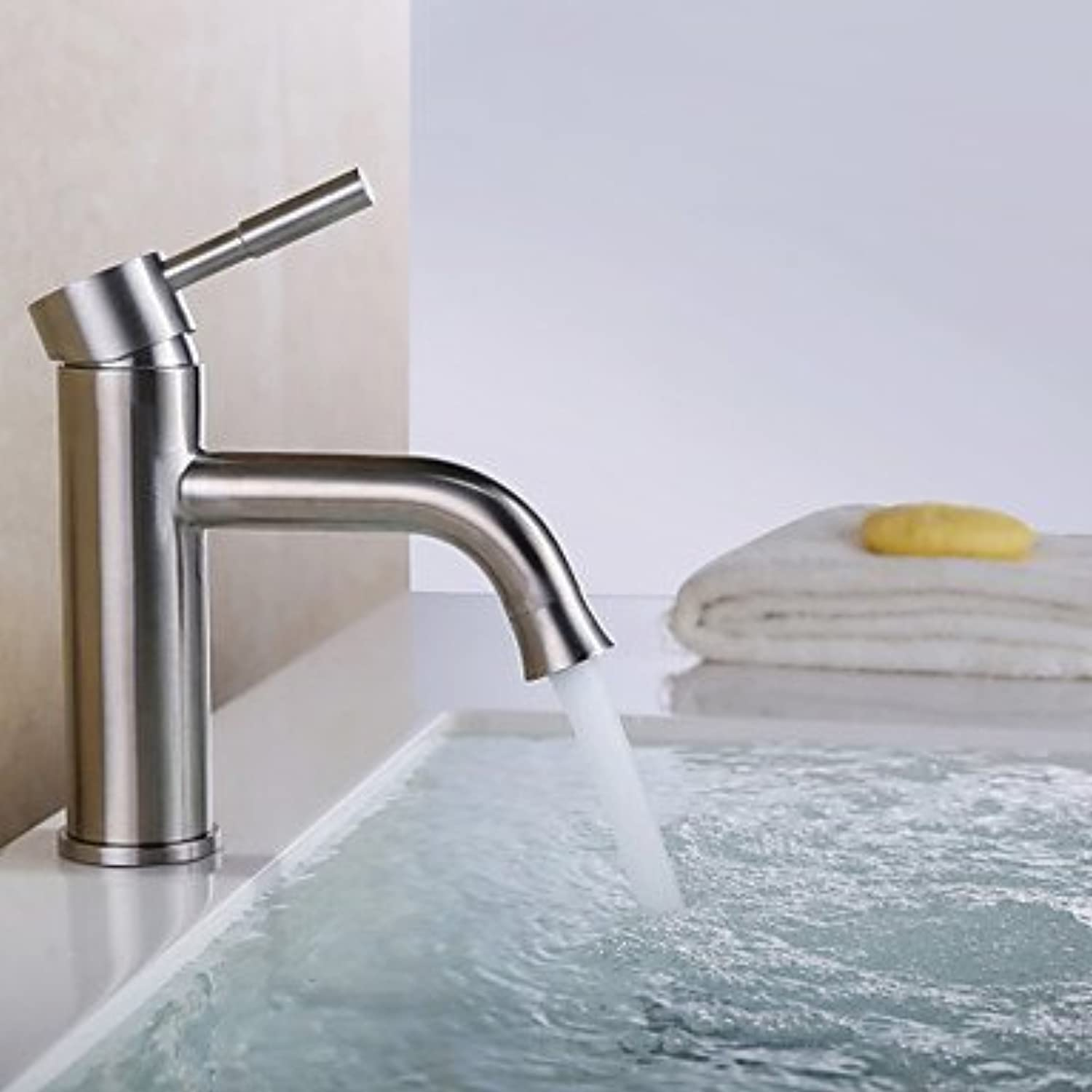 Brushed Stainless Steel Contemporary Waterfall Bathroom Sink Faucet