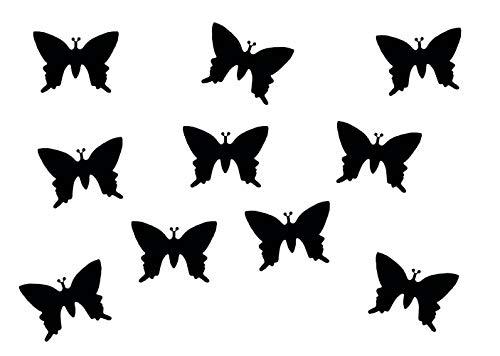Miniblings 10x Transfert Tissu Papillon de 25 mm de Aspect Velours I Patches à Repasser Patches Repassage, Color:Schwarz