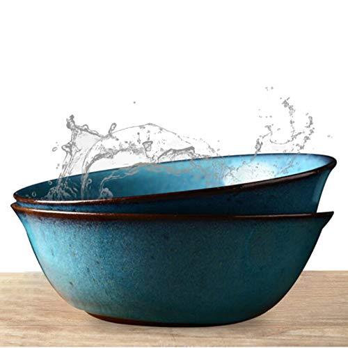 MAHFEI Cuenco Ensaladera, Cerámica Cuenco De Ramen Vajilla Creativa Cuenco para Sopa Cuencos De Pasta Salud Y Seguridad Cadmio Sin Plomo (Color : Blue-18.2x6.4cm, Size : 2PCS)