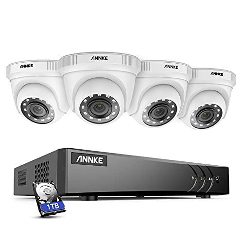 ANNKE Kit Sistema de Seguridad CCTV Cámara de vigilancia 4CH 3MP H.264+ DVR con 4 Cámaras 1080P IP66 Impermeable Visión...
