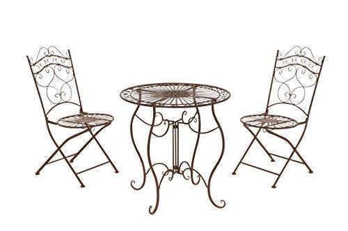 CLP Garten-Sitzgruppe Indra I Zwei Klappstühle Und EIN Tisch I Pflegeleichte Gartenmöbel Aus Eisen Im Jugendstil, Farbe:antik braun