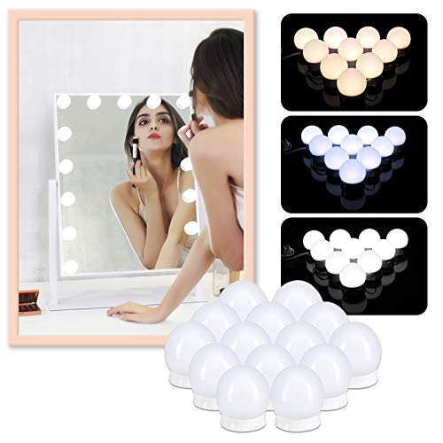 Luces de Maquillaje,Sucastle Luces para Espejo de Maquillaje,11ft Luces LED Kit de Espejo,10 Luces Estilo Hollywood para tocador con USB,Lámpara de Espejo 3 Modos de Color y 10 Niveles de Brillo.
