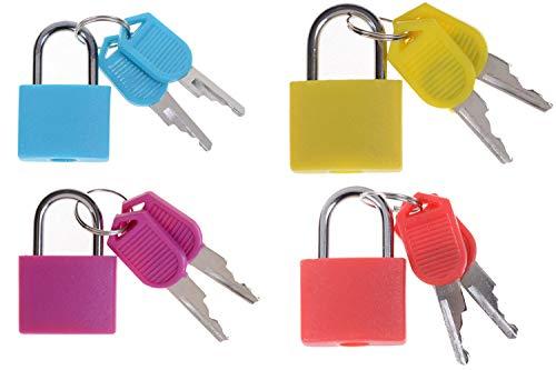 Small Colored Padlocks 4 Pieces with 2X Keys Multicolor Mini Brass Padlock Set for Toolbox, Gym Locker Lock, Suitcase Lock, Money-Box, Diary, School Bag