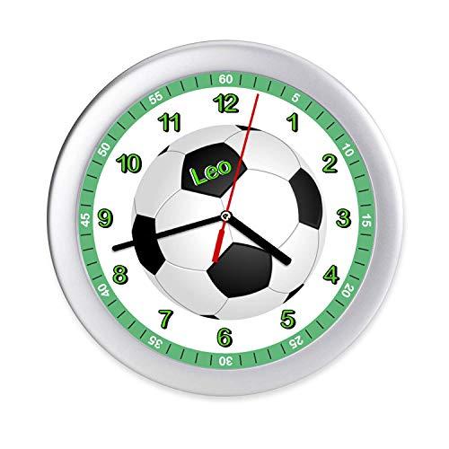 Kinder Wanduhr Fußball Kinderzimmer Uhr mit Namen Kinderuhr Lernuhr Jungen Mädchen personalisiert