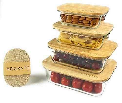 ADORATO® Premium Glas Frischhaltedosen 4er Set mit umweltfreundlichem Bambus Deckel & Luffa Naturschwamm - Vorratsdose mit Holzdeckel, Glasbehälter, Küchenbehälter - BPA frei ohne Plastik