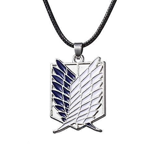 Yicare Attack on Titan Halskette The Wings of Freedom Anhänger Survey Corps Halsband Geschenk zum Valentinstag für Jugendliche Anime Fan Japanischer Comic