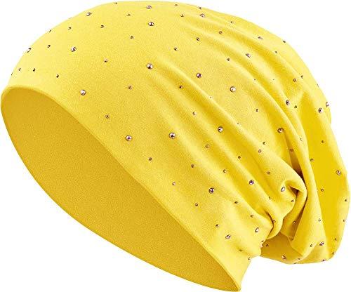 Jersey Baumwolle elastisches Long Slouch Beanie Unisex Herren Damen mit Strass Stern Steinen Mütze Heather in 35 (7) (Yellow)