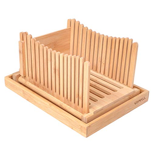 Kinwell Nature Bamboo Foldable Bread Slicer with Crumb Catcher Tray + 20 Bread Bags for Homemade Bread & Loaf Cakes, Thickness Adjustable,Thick & Thin Slices 1/3', 3/8' and 1/2'(New Version)