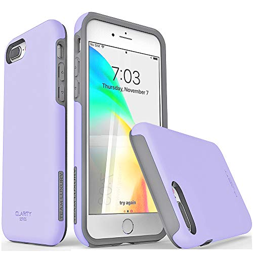 TEAM LUXURY iPhone 7 Plus case/iPhone 8 Plus case, [Clarity Series] Purple [G-II] Ultra Defender TPU + PC Shock Absorbent Protective Case - for Apple iPhone 7 Plus & 8 Plus 5.5' (Purple/Gray)