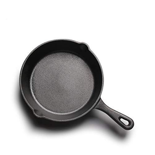 NO LOGO JNT- Moulage Pratique Fer Marmite 14/16 / 20cm Wok Uncoated Poêle for gaz et cuisinière à Induction panela Ollas de Cocina (Couleur : Black, Taille : 14 cm)