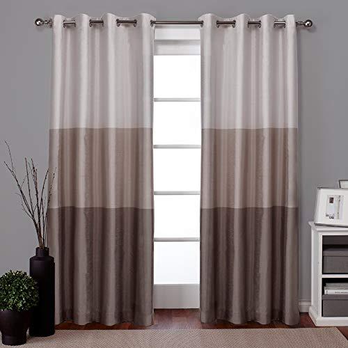 独家家庭窗帘Chateau条纹人造丝索环顶级窗帘面板对,54x84,灰褐色,2计数