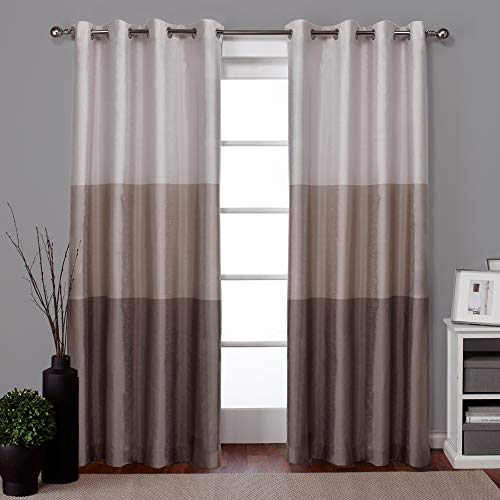 Exclusive Home Curtains EH7951-03 2-84G Chateau Striped Faux Silk Grommet Top Curtain Panel Pair, 54x84, Taupe, 2 Piece